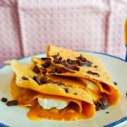 Crepes de gofio con puré Libbys Tufruti melocotón-mango