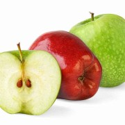 7215477 - two apples and a half isolated on white background
