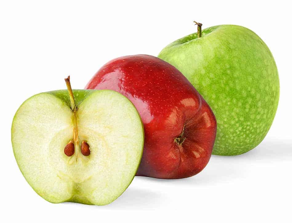 Diferencias entre manzanas verdes y rojas