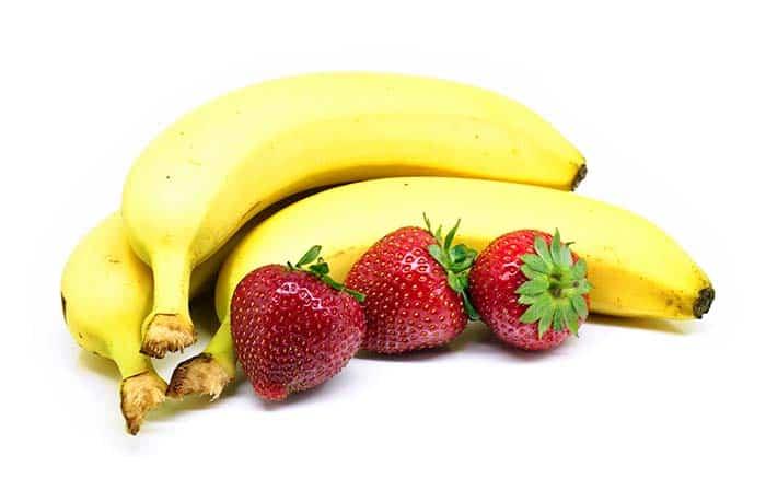 combinar plátano y fresa