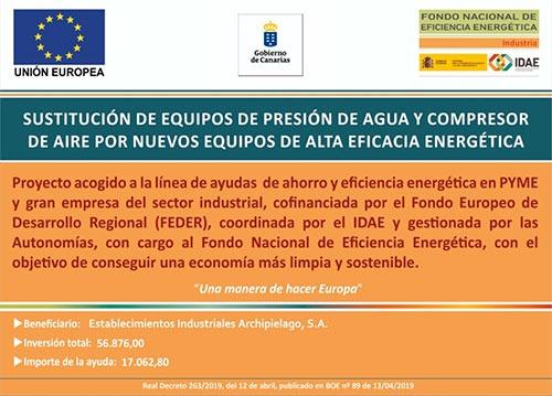 Ayuda recibida para la sustitución de equipos obsoletos, para el ahorro y la eficiencia energética en PYME